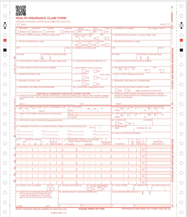 One Part Cms 1500 Continuous Claim Form | Stock Checks