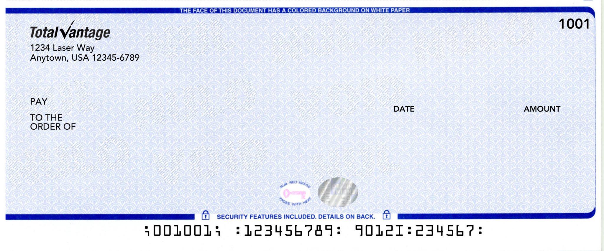 Hologram Imprinted Laser Checks Stock Checks