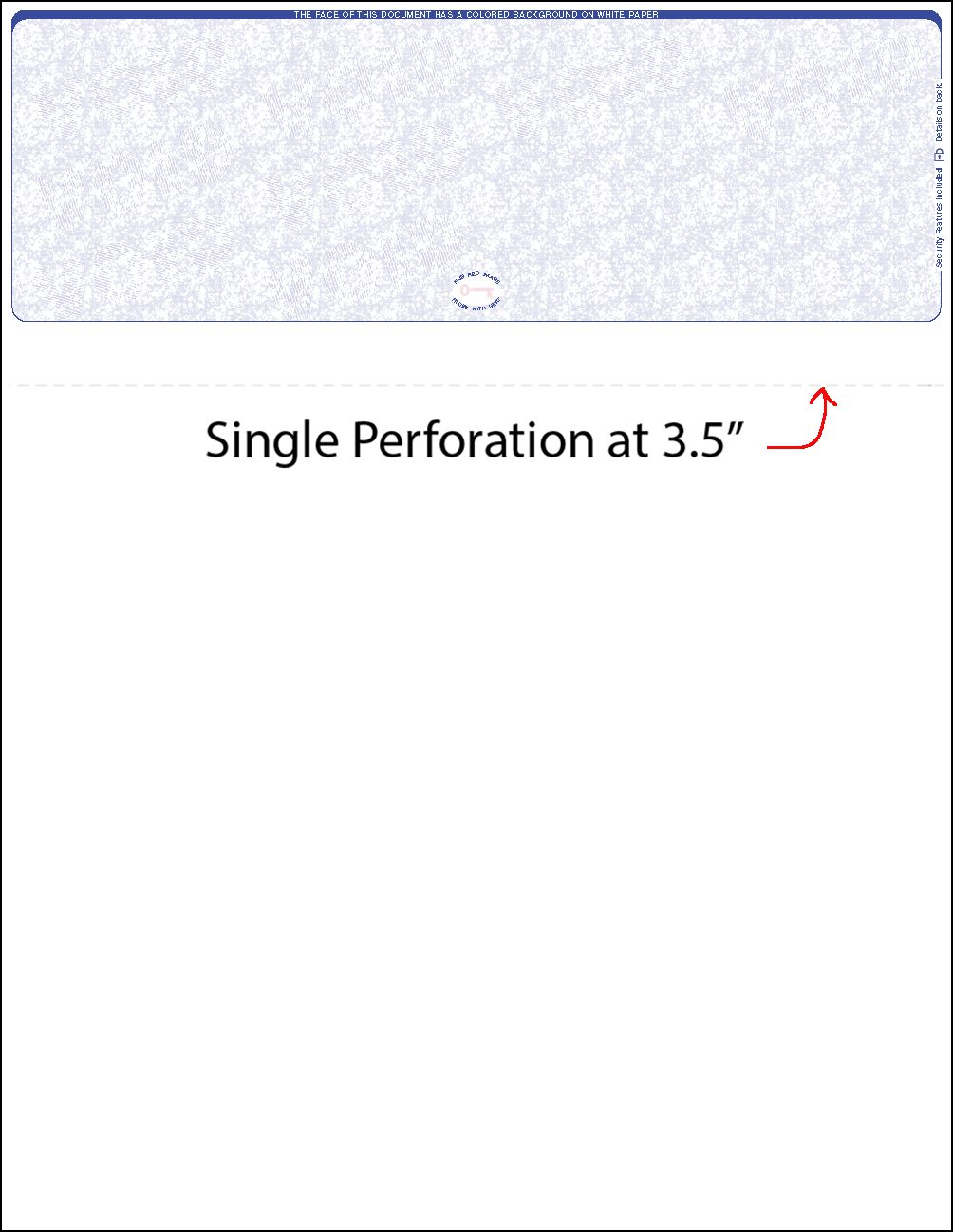 one perf adp style blue top blank laser check WLSTK1VRF1P
